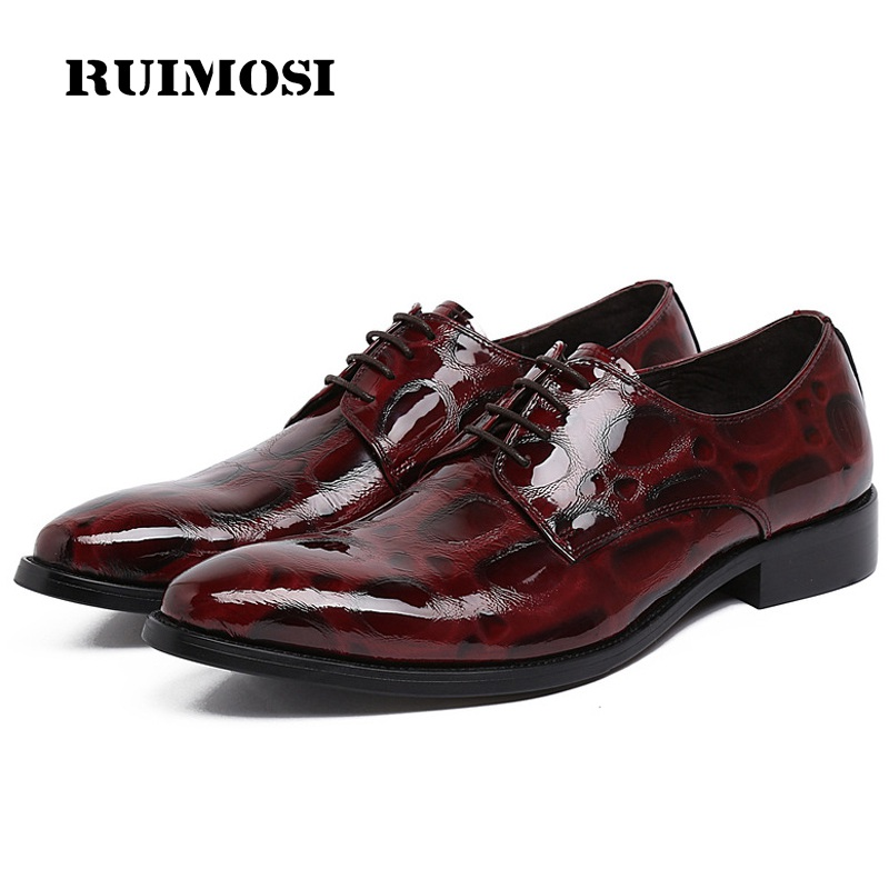 RUIMOSI Italian Designer Man Formal Party Shoes Patent Leather Wedding Oxfords Pointed Toe Derby Luxury Men's Bridal Flats FK42
