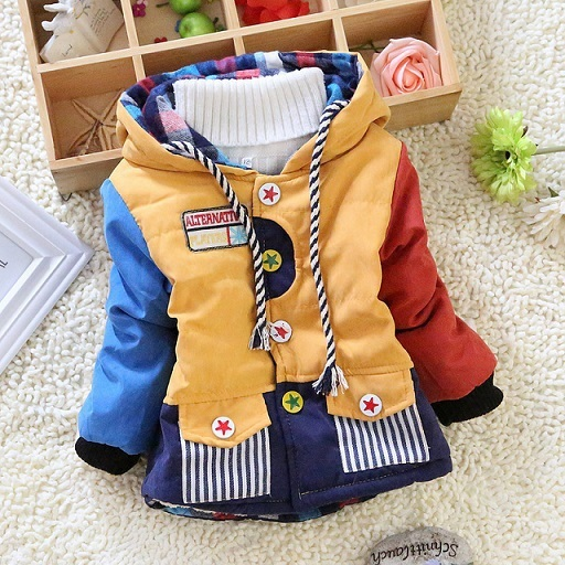 Venta caliente 2016 nuevos niños ropa de los muchachos de retazos fresco invierno cabritos de la chaqueta caliente outwear abrigos suéteres del bebé niños Abajo y Parkas