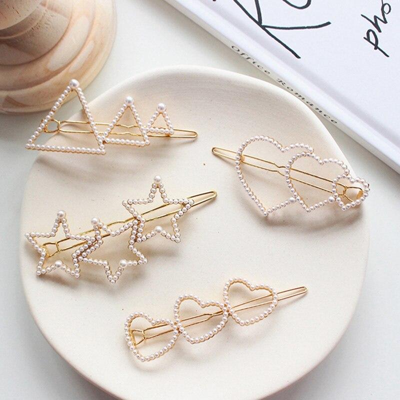 Корейские модные жемчужные заколки с сердечком и пятиконечной звездой, геометрические треугольные шпильки, женские аксессуары для укладки волос для девочек Шпильки и заколки для волос      АлиЭкспресс
