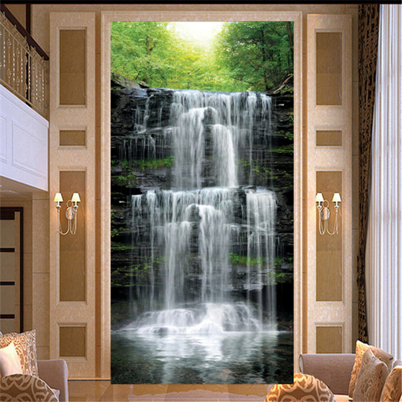 Beibehang Waterfall Scenic Woods 3d Murals Papel De Parede 3d Living Room  Wall Paper Background Photo Wallpaper Home Decoration In Wallpapers From  Home ...