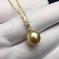 Sinya 12mm southsea golden pearl pendant inlay Real high luster diamonds 18K Au750 fine jewelry necklace for women ladies Hot