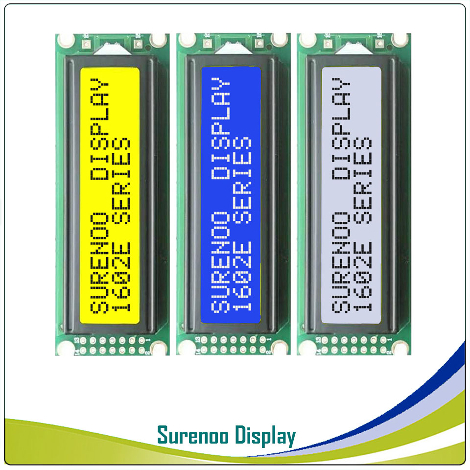 Left Interface 162 <font><b>16X2</b></font> 1602 Character <font><b>LCD</b></font> Module <font><b>Display</b></font> Screen LCM Yellow Green Blue with LED Backlight image