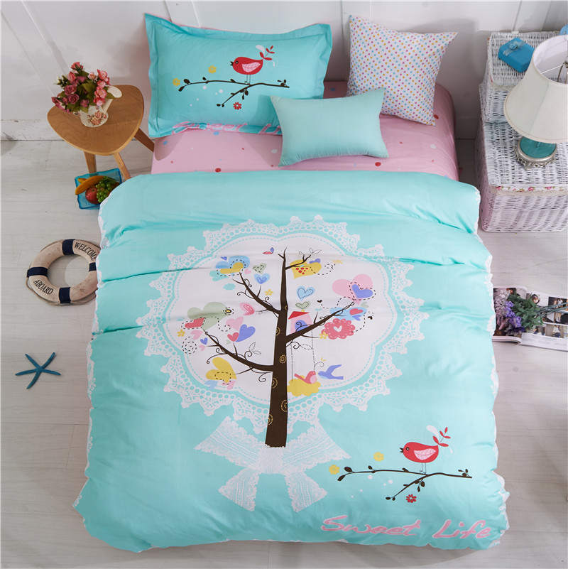 spring lucky tree Printed bedding set 100% cotton bedclothes single twin double size girl Childrens Adult home decoration wovenspring lucky tree Printed bedding set 100% cotton bedclothes single twin double size girl Childrens Adult home decoration woven