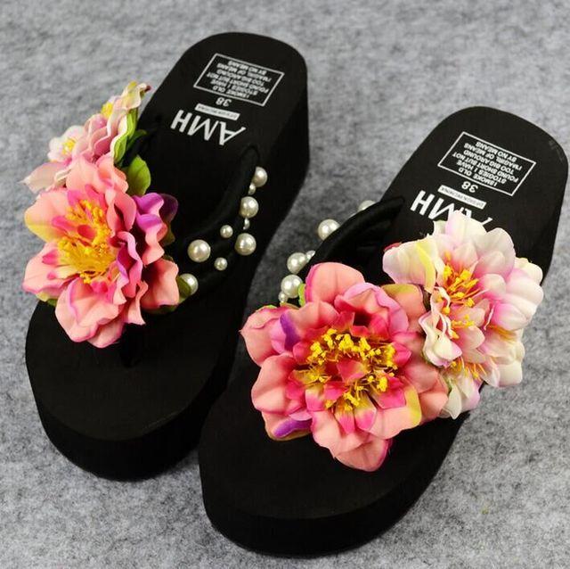 HAHAFLOWER Schöne Rose Blume Kühlen Sommer Frauen Hausschuhe