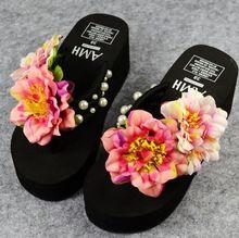 HAHA FLOR Nueva hot summer simple dulce lindo flores hechas a mano sandalias de playa de moda Zapatillas cómodas Flip flop