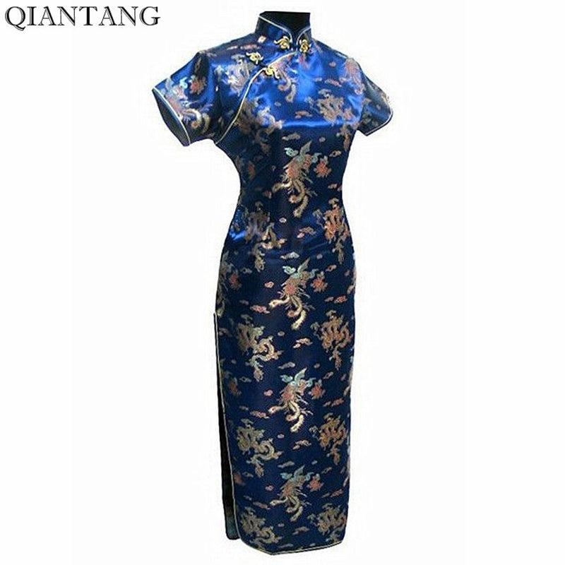 Hot Sale Navy Blue Tradiční čínské dámské Satén Cheongsam Qipao dlouhé šaty Mujer Vestido S M L XL XXL XXXL 4XL 5XL 6XL J3093