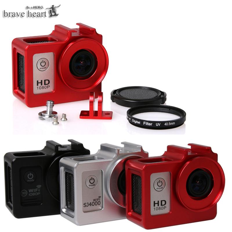 Prix pour Nouvelle Caméra Accessoire Alliage cage De Protection Logement de Couverture En Métal cadre + UV filtre pour SJCAM SJ4000 + WIFI/SJ6000/SJ7000 caméra
