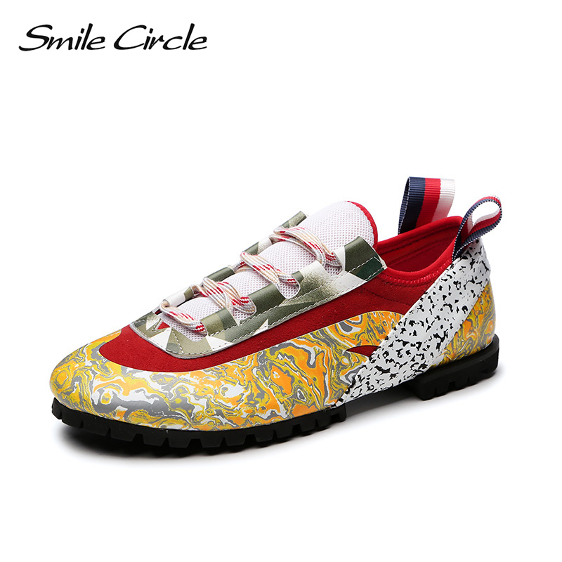 Smile Circle 2018 Spring Wedges Sneakers Women Fashion Mixed colors Flat Shoes For Women Thick bottom Casual Shoes A98A305-1