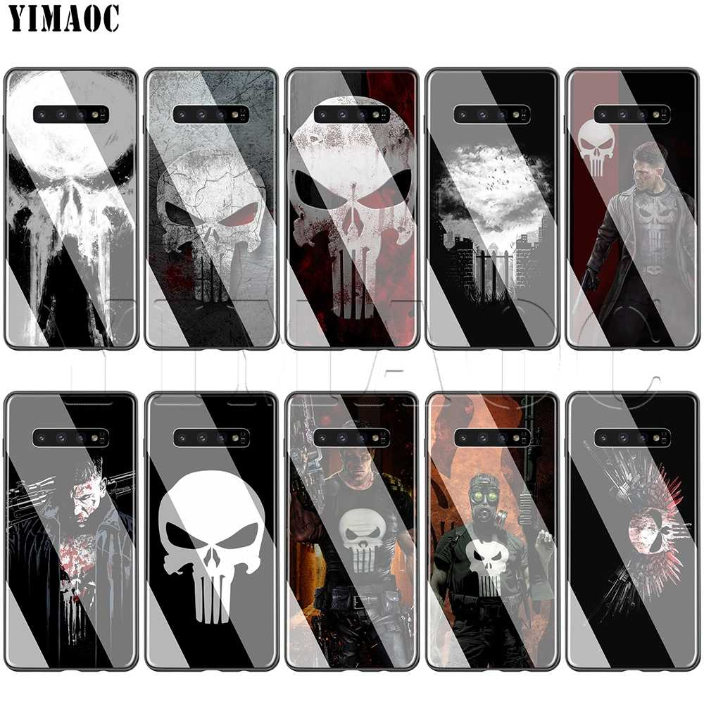 YIMAOC Marvel Le Punisher Verre étui pour samsung Galaxy S7 S8 S9 S10 Plus Note 8 9 10 A50 A20 A10 A70