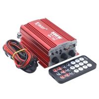 Ultra Düşük Gürültü 12 V DC Amplifikatör USB SD Kart Ile 2 CH FM Ses Ev Araba Amplifikatör Uzaktan Kumanda sensör