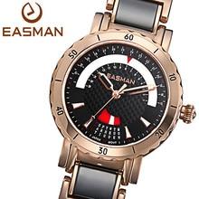 Easman женщин часы черный керамический часы день дата календарь 2015 кварцевые часы мода из розового золота часы женские наручные подарки
