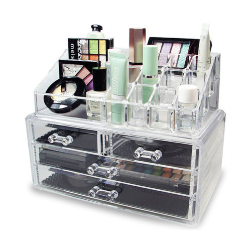 Clear Cosmetic Organizer Acrylic Makeup Case Jewelry Display Box Storage  Drawers