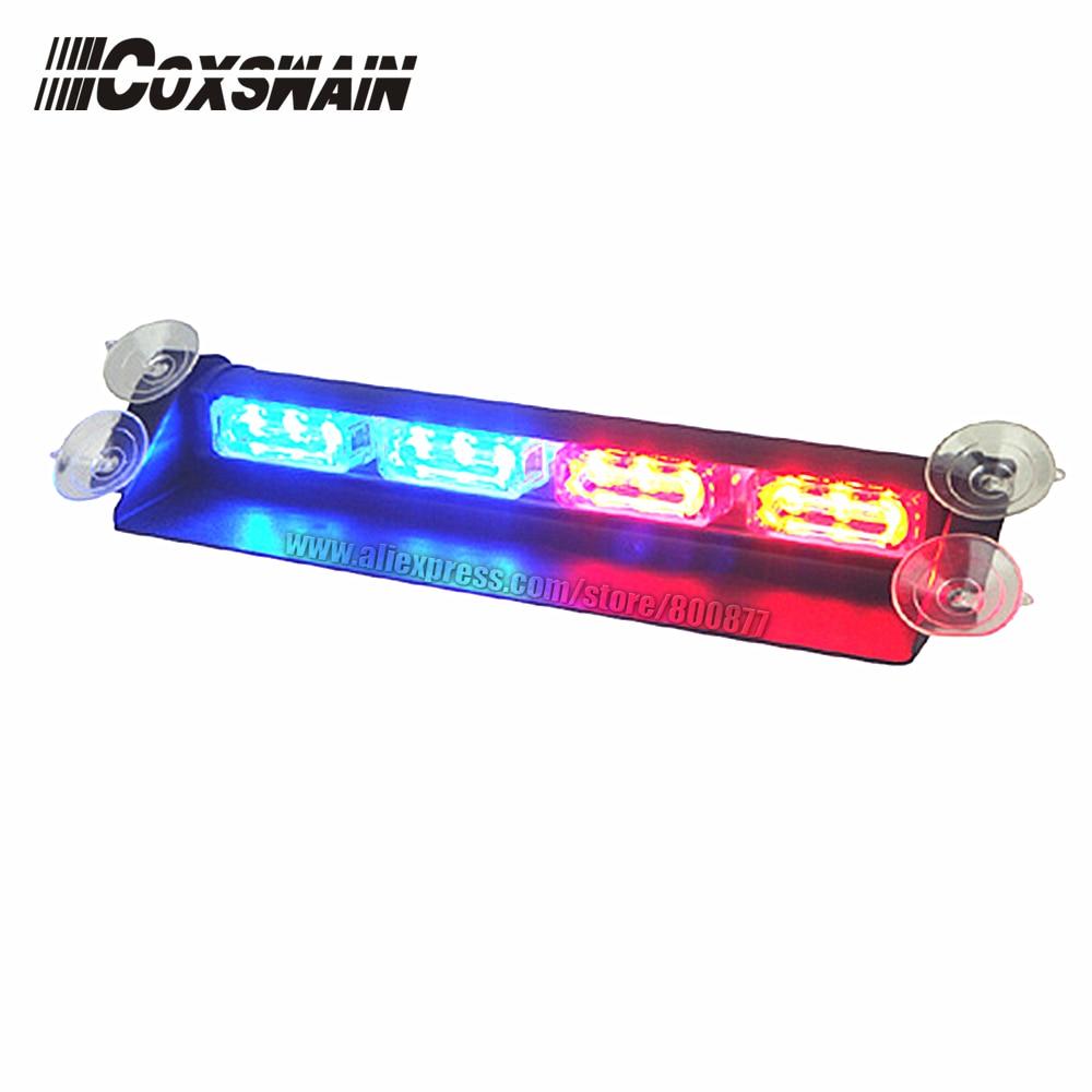 (VS-718-4) Car LED Warning Dash Light, 12*3W LED, 15 Flash Pattern, Easy Install By Suction Cups, LED Windshield Light, DC12V