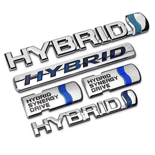 Blue Silver Quality Abs Chrome Hybrid Synergy Drive Car Styling Reing Emblem Badge Sticker Trunk Logo For Toyota Carmy