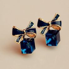 Bowtie Ladies Stud Earrings Crystal Blue Water Cube Box For Women Fashion Jewelry