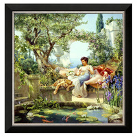 Sewing DIY DMC 14CT Not Printed Cross Stitch Kits Embroidery Female Image Italy Home Decoration Crafts