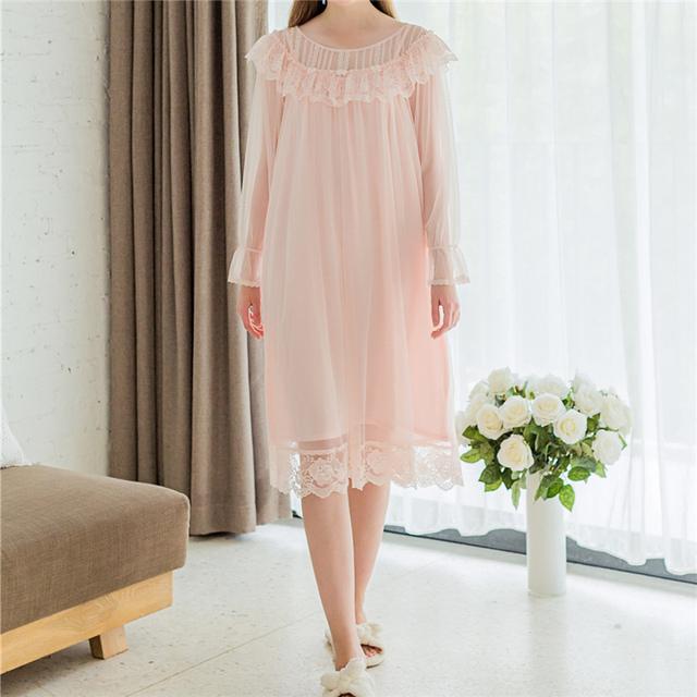 Nuevas Adquisiciones de Encaje Camisones Vestido de Casa Sexy Modal Camisas de Dormir Ropa Interior Sólido Blanco Suave Camisón de Mujer # HH27
