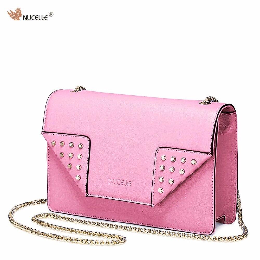 ФОТО Nucelle Brand Vintage Rivet Design Mini Small Women Handbag Cowhide Leather Metal Chains Shoulder Bag