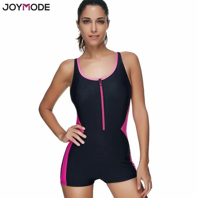 d7ac659a4d1 JOYMODE Monokini Sport Swimwear One Piece Swimsuit For Women Zip Front  Padded Bathing Suit 3XL Plus Size Beach Wear Bodysuit