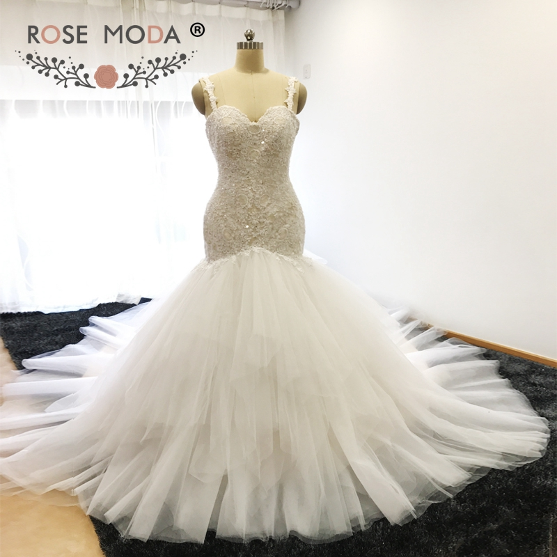 Champagne Lace Wedding Gown: Rose Moda Ivory Over Champagne Backless Lace Mermaid