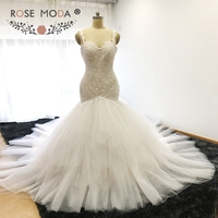 Rose Moda Ivory over Champagne Backless Lace Mermaid Wedding Dress Royal Train Wedding Gown 2018 Custom Made