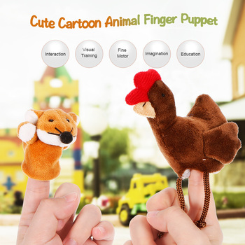 2Pcs Finger Doll Baby Plush Toys The fairy tale finger puppets The Sly Fox and The Little Red Hen story Enlightenment Education ottoline and the purple fox