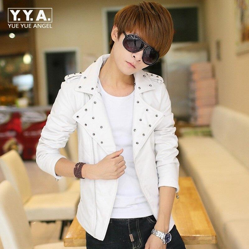 Nouveauté haute qualité mode hommes Biker moteur coréen Slim Fit veste manteau Outwear Rivet Faux cuir coupe-vent taille Plus