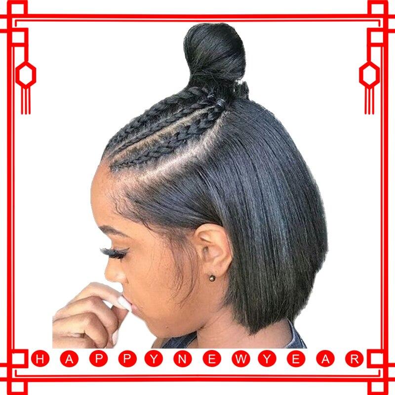 360 Dentelle Frontale Perruque Pré Pincées Avec Bébé Cheveux Raides cheveu court Perruques Pour Femmes Noir perruque bob Avant de Lacet Remy Plein se termine