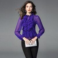 royal blue chiffon blouse 5xl shirts casual bohemian women's blouses and tops ladies summer haute 2019 fashion top lotus trim