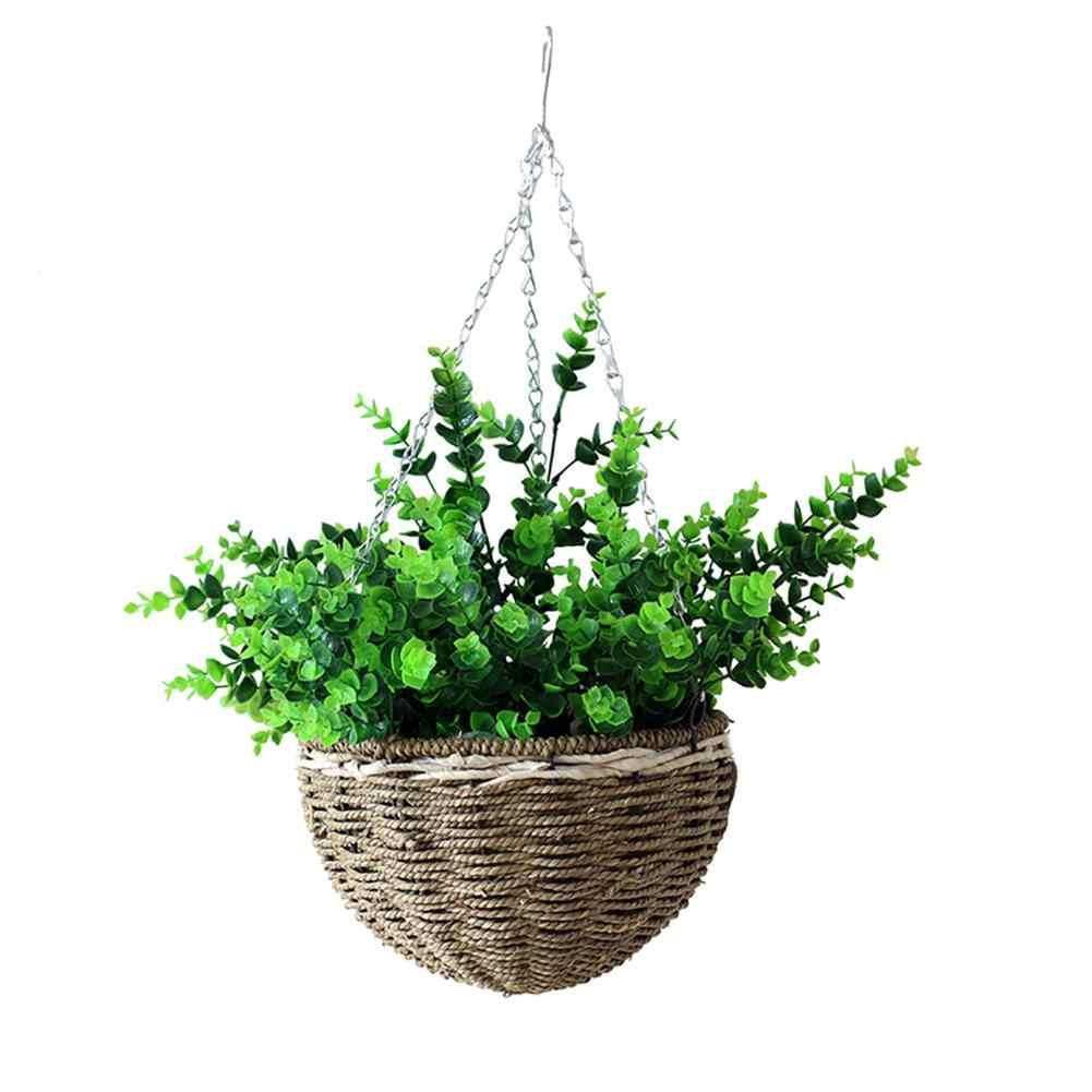 Woven Wrought Iron Hanging Basket