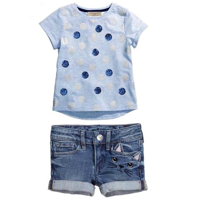 Girls Clothing Set Baby Cute Printing Dots Summer 2pcs Clothing Set  Short Sleeve T shirt + Denim Shorts Suit For Girls Clothes