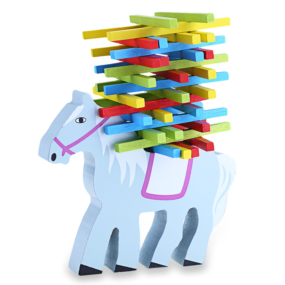 Kids Multi-Colored Lovely Cartoon Horse Animal Shape Balance Beam Balance Beam Stacking Game Toys Set