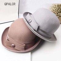 QPALCR High Quality Wool Felt Hats Women Formal Cap Wide Brim Bowknot Wool Fedora Hat Ladys Charming Solid Crimping Bowler Hat