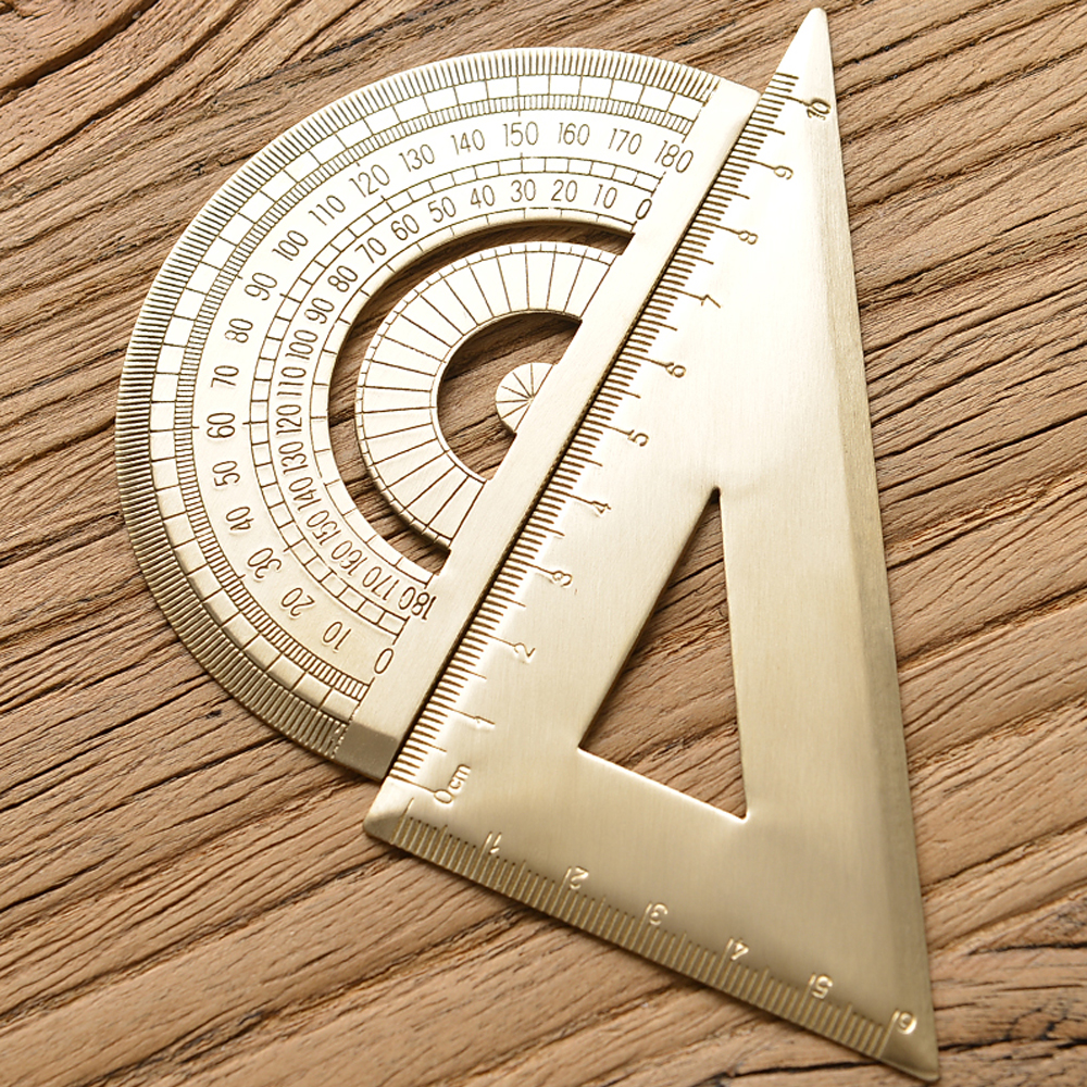 Brass Triangle Ruler Retro Semicircle Protractor Triangle Plate Drawing Copper Ruler School Office Stationery Supplies