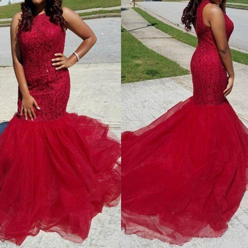 2019 Hot Dark Red Prom Dresses Mermaid Sleeveless Lace Appliques Puffy Tulle Long Junior Party Evening Celebrity Gown