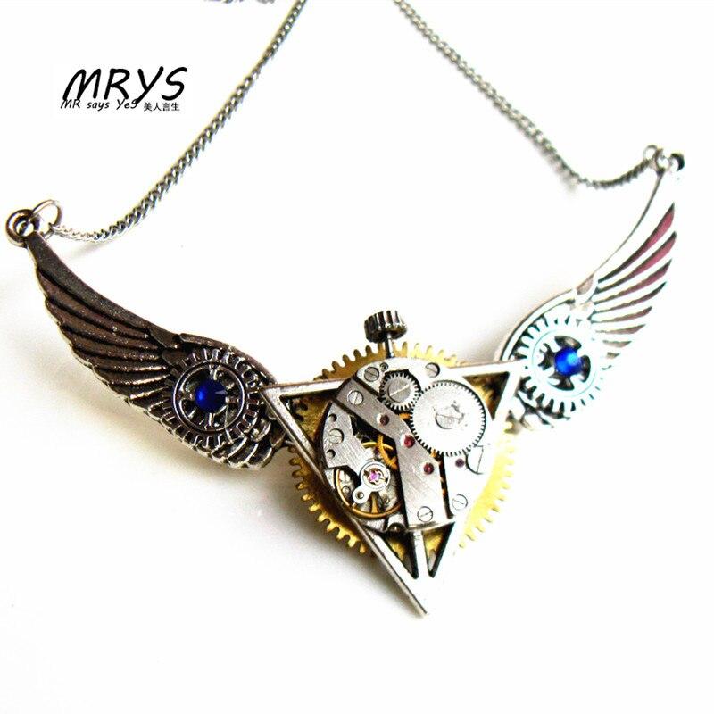 Steampunk ailes les reliques de la mort pièces de montre engrenages broche broches pendentif déclaration chaîne pour femmes hommes garçons filles bijoux cadeau