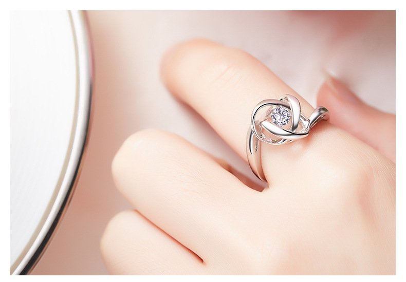Cdyle Luxury Ring Dancing Stone Fashion S925 Sterling Silver Jewelry Women Fashion Jewelry Elegant Rings White New Bijous
