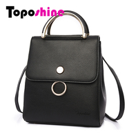 Toposhine Multifunction Women Small Backpack PU Leather Women S Backpack Fashion Shoulder School Girls Bag Female