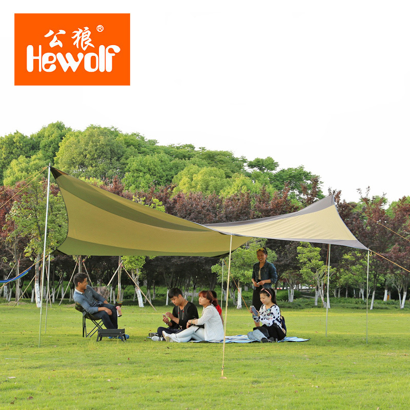 Hewolf 6-8 Person Silver Coated Anti-UV Ultralarge Rainproof Camping Tent Large Gazebo Tarp Large Sun Shelter Awning outdoor camping hiking automatic camping tent 4person double layer family tent sun shelter gazebo beach tent awning tourist tent