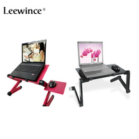 Leewince Folding Computer Table Portable Notebook PC With Tray Adjustable Notebook Table Ventilation Stand Bed