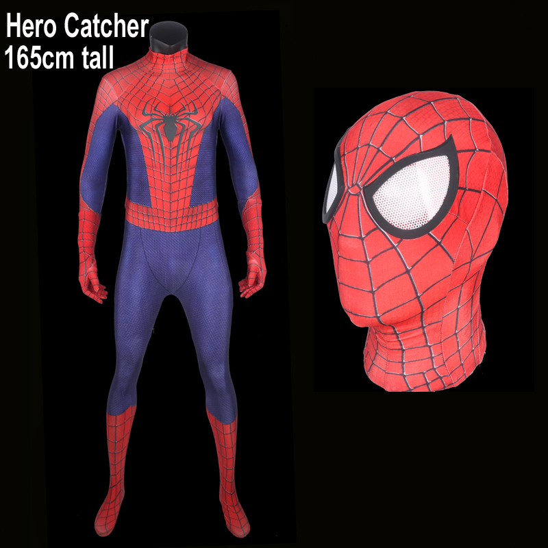 Hero Catcher Top Quality For 165cm Tall Black Spiderman Cosplay Costume Amazing Spiderman Suit For Halloween Fullbody Costume