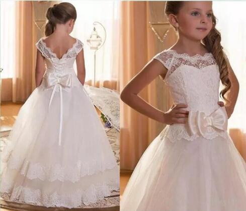 White Ivory Ball Gown Flower Girls Dresses Puffy Tulle Lace Capped Sleeves First Communion Dress for Special Occasion Size 2-16YWhite Ivory Ball Gown Flower Girls Dresses Puffy Tulle Lace Capped Sleeves First Communion Dress for Special Occasion Size 2-16Y