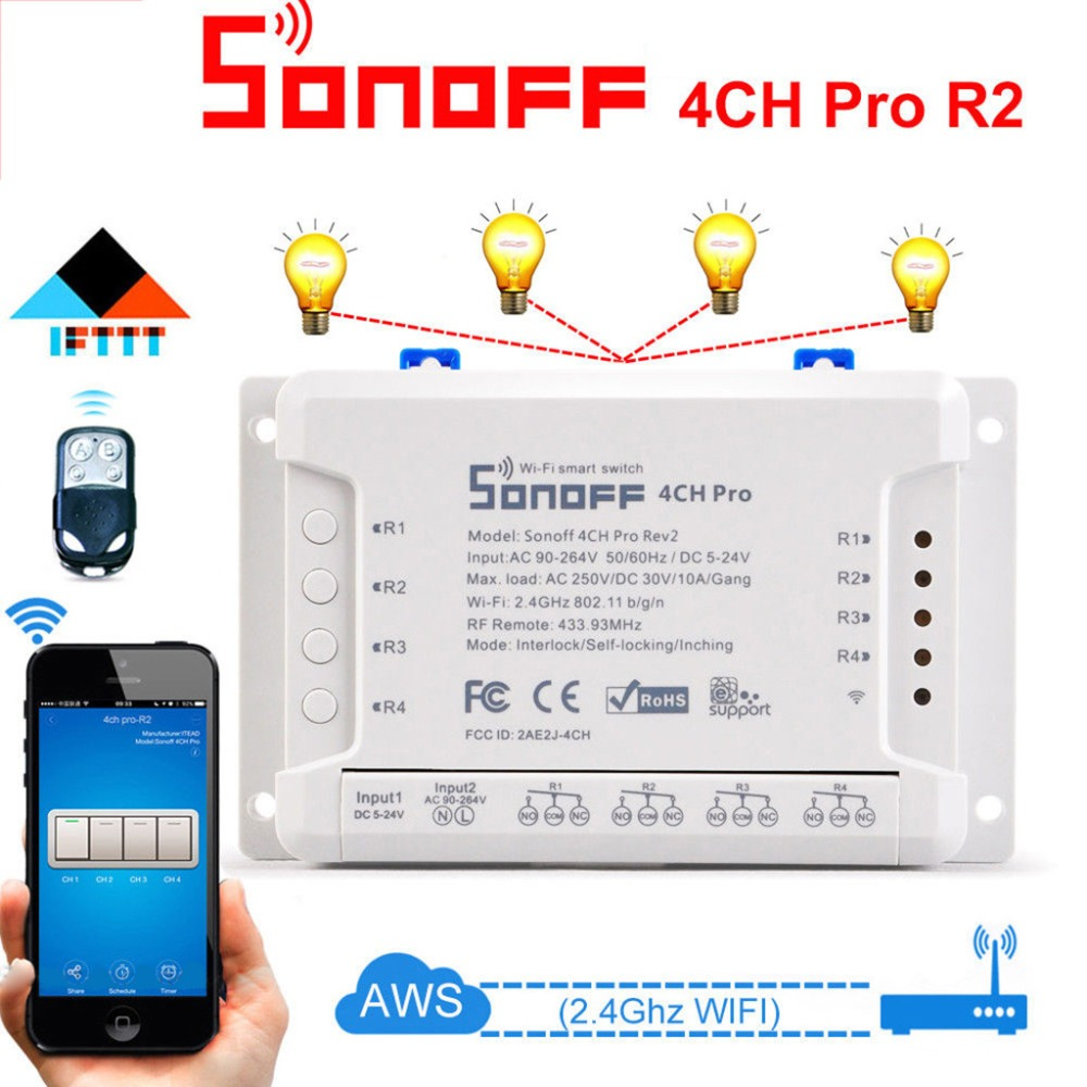 HIPERDEAL SONOFF 4CH Pro R2 433 MHz WiFI commutateur intelligent 3 Modes de fonctionnement prennent en charge Google Home 4.18
