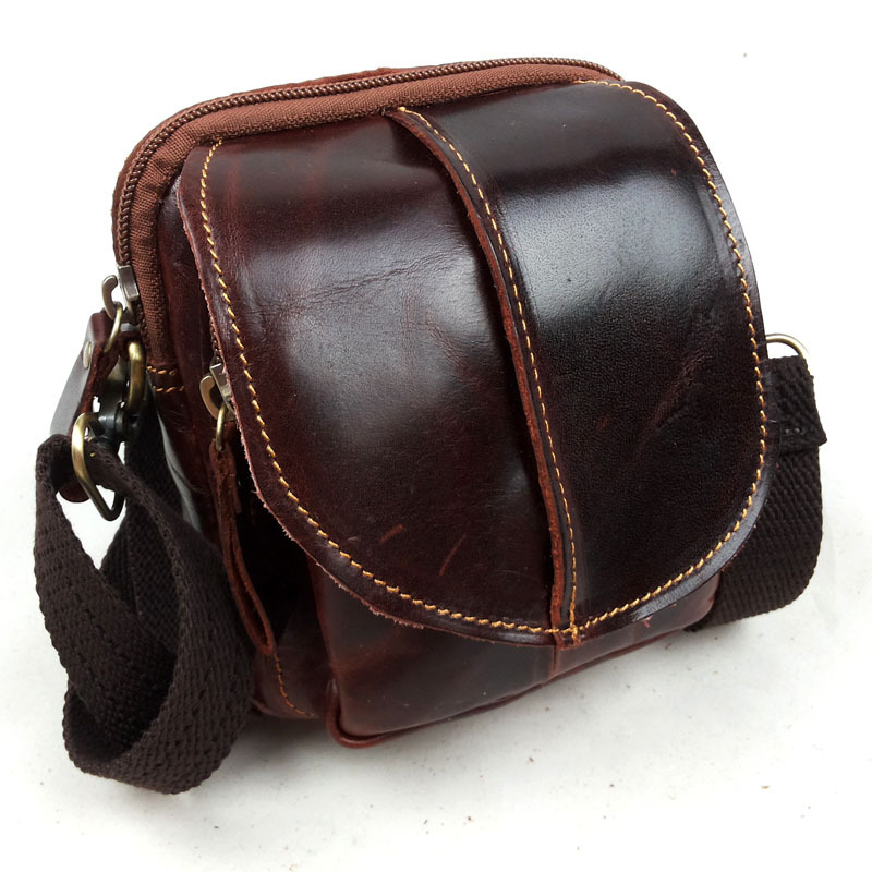 Vintage Hot Oil Wax Genuine Leather Men Shoulder Bag Chest Bag Thread Male Crossbody Chest Pack Flap Red Brown Casual Hangbag ...