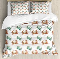 Crabs Duvet Cover Set Pattern with Watercolor Style Fresh Water Animals Coastal Themed Art, Decorative 4 Piece Bedding Set