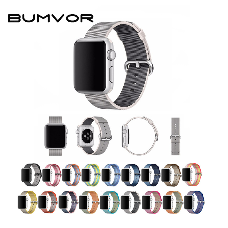 BUMVOR Sport woven nylon strap band for apple watch band 42mm 38mm wrist bracelet belt fabric-like nylon band for iwatch 3/2/1