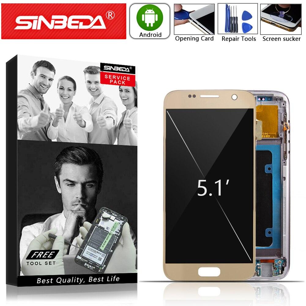AMOLED pour SAMSUNG Galaxy S7 LCD numériseur écran tactile avec cadre pour Samsung S7 G930 G930A G930F écran LCD assembler