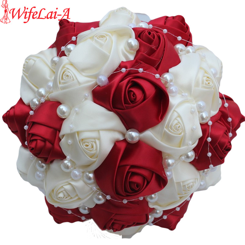 Burgundy Wedding Flower Bouquet: Best Selling New Marriage Ivory Burgundy Bridal Bouquet