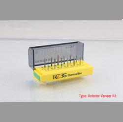 Dental Diamond Bur FG 1.6mm For Anterior Porcelain Veneer 12 pcs Bur+Sterilization Holder Dental Bur