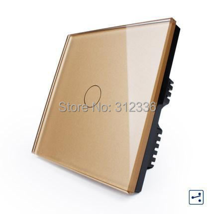 Free shipping 1 gang 2 way  Champagne Color Double way wall switch Glass touch switch panel  control tempering glass smart home uk standard crystal glass panel wireless remote control 1 gang 1 way wall touch switch screen light switch ac 220v